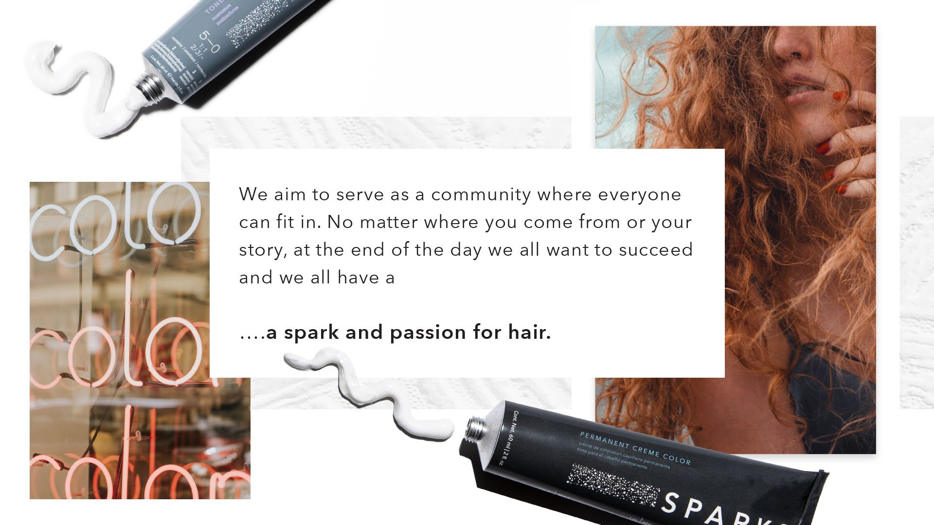 Quote reads, we aim to serve as a community where everyone can fit it. No matter where you come from or your story, at the end of the day we all want to succeed and we all have a ... a spark and passion for hair. With products, textures and model imagery.