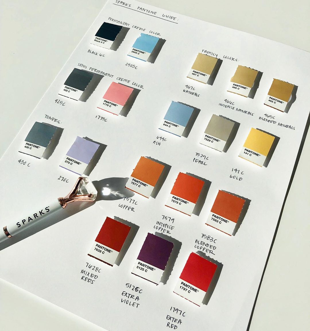 Sparks pantone guide with a pen