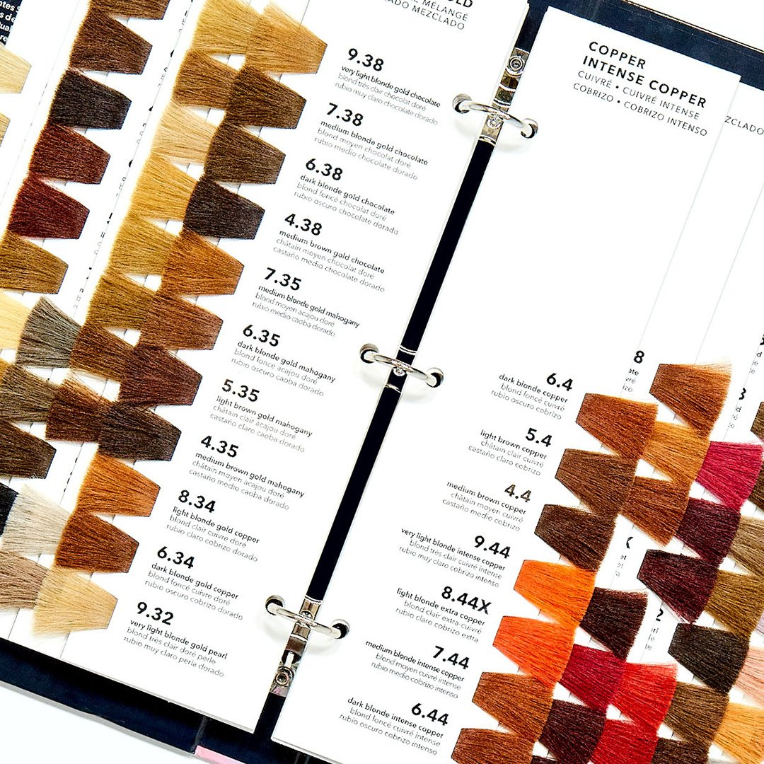 A Swatchbook open showing hair samples